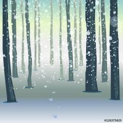 świąteczna-ilustracja-las-zimą-plakat-samoprzylepny