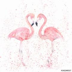 akwarela-flamingi