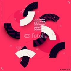 Białe i czarne fragmenty kół na czerwonym tle