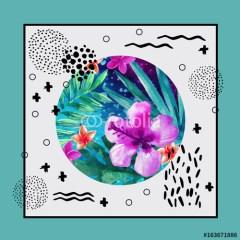 tropikalny-kwiat-wzory-geometryczne-plakat-na-ścianę