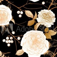 kwiatowe-czarne-fototapety-vintage-roze