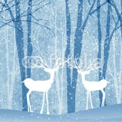 zimowy-krajobraz-z-jeleniami-obraz-na-płótnie-w-stylu-skandynawskim