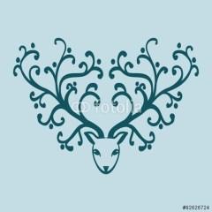 dekoracyjna-niebieska-głowa-jelenia