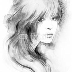 Piękna kobieta o łagodnym spojrzeniu - ilustracja