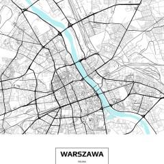 Mapa Warszawy z podpisem na białym tle