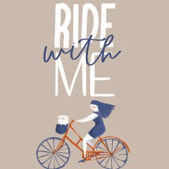 Typografia z rowerem - napis Ride with me