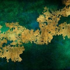złoty-brokat-na-zielonym-kamieniu-fototapeta