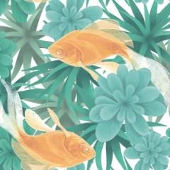zlote-rybki-dekoracja-scienna-fototapeta