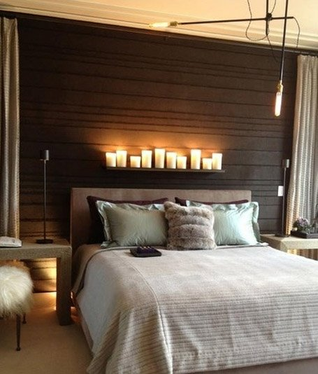 bedroom with candles