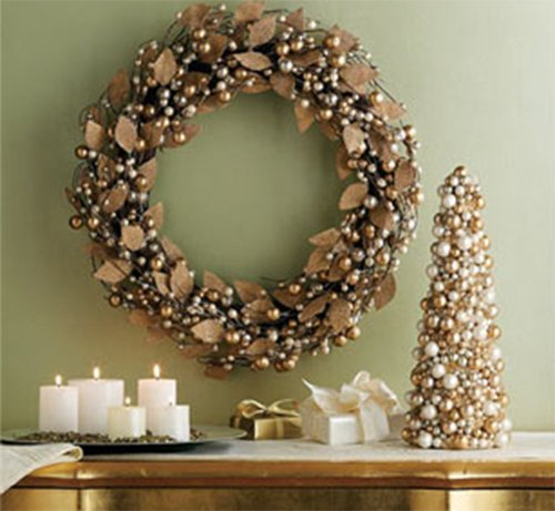 christmas decoration idea with silver and gold