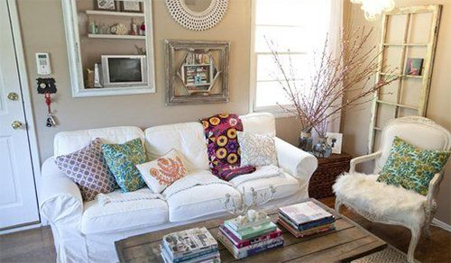 cute living room design with colored pillows