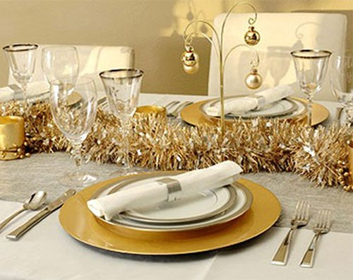 gold colored christmas table decor
