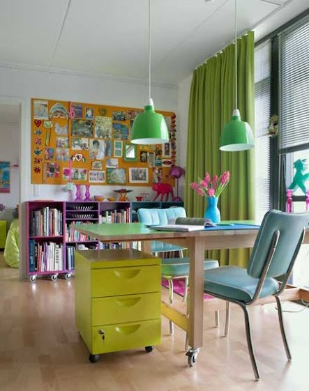 home office design with bright colors