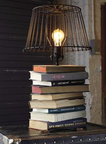 lamp design with books for your bedroom