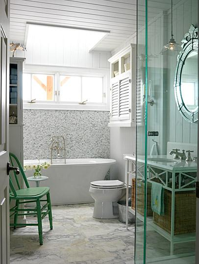 bathrooms - ICI Dulux - N.B.C. White - green accent chair gray yellow white Saltillo tiles white caesarstone countertop white wood vanity baskets ornate frameless mirror white beadboard frameless glass shower white cupboard bathroom