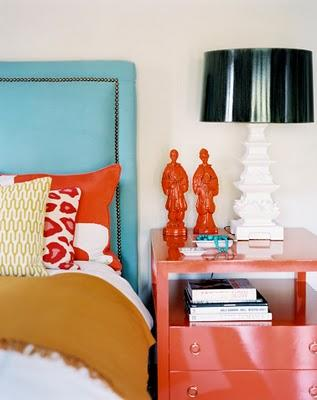 bedrooms - TURQUOISE nailhead trim headboard glossy red lacquer nightstand white lamp black leather shade  TURQUOISE