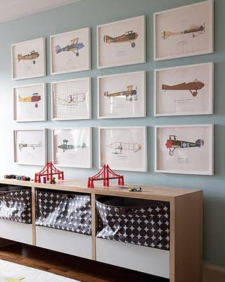 boy's rooms - airplane gallery art storage blue walls paint color  Airplane Pictures  Boy's room with blue walls paint color, toy storage and