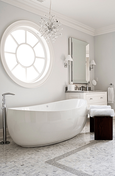 bathrooms - platinum gray walls paint color modern crystal chandelier beveled mirror white modern bathroom vanity chrome sconces espresso stools marble tiles floors bathroom