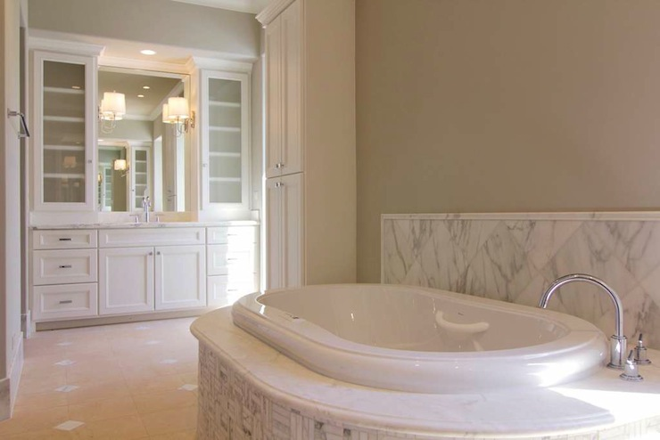 bathrooms - carrara marble gray walls white  Lovely lovely bathroom.    Soft gray walls, white shelves, classic carrara marble backsplash.