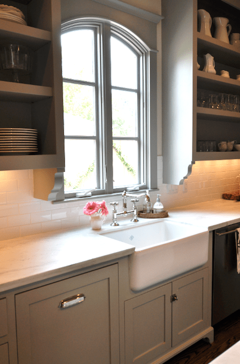 kitchens - Benjamin Moore - Fieldstone - gray green kitchen cabinets subway tiles backsplash farmhouse sink open shelves polished nickel hardware faucet
