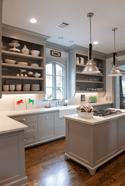 kitchens - Benjamin Moore - Fieldstone - gray kitchen cabinets open shelves farmhouse sink island pendants calcutta marble countertops  Sally