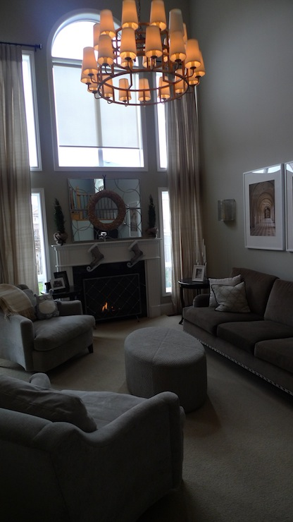 living rooms - Behr - Castle Mist - Greige paint grey silk drapes Nancy Corzine chandelier Whittington custom furniture  Grey Living room