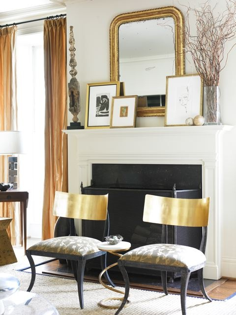 living rooms - gold klismos chairs gray fabric gold mirror gold leaf frames fireplace sisal rug  Courtney Giles  Gorgeous gold klismos chairs