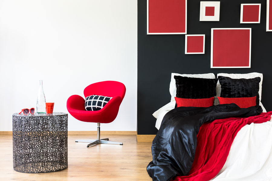 red and grey bedroom design decor ideas
