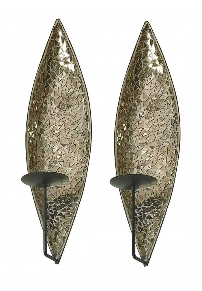 """DecorShore """"Bella Palacio"""" Mirrored Glass Mosaic & Metal ... on Large Wall Sconces Candle Holders Decorative id=72275"""