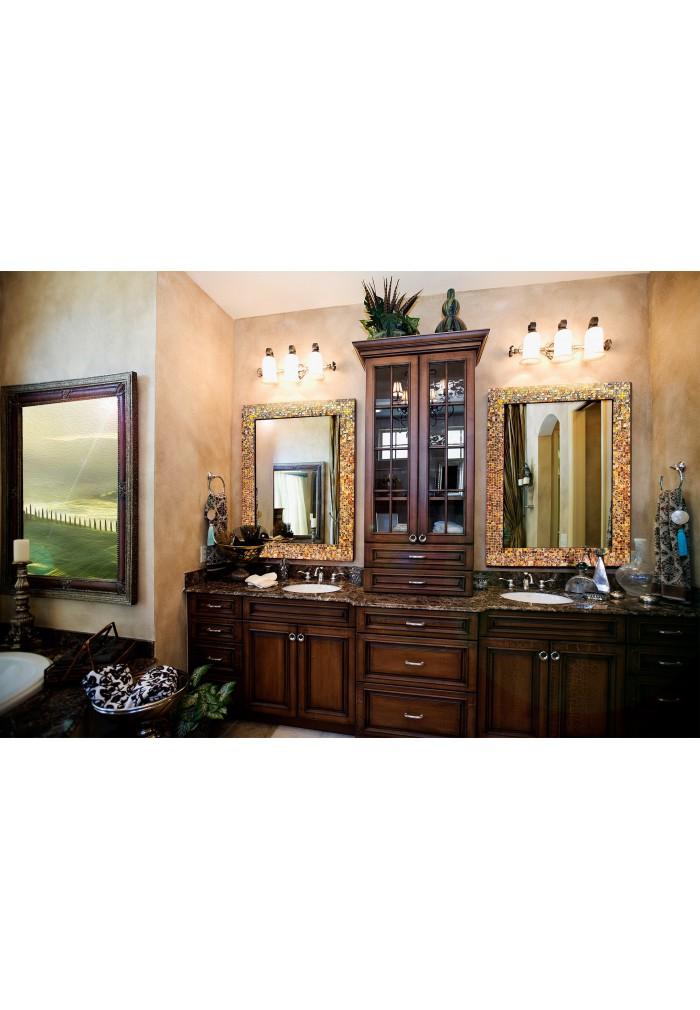 Buy 30x24 Caramel Macchiato Glass Mosaic Framed Wall