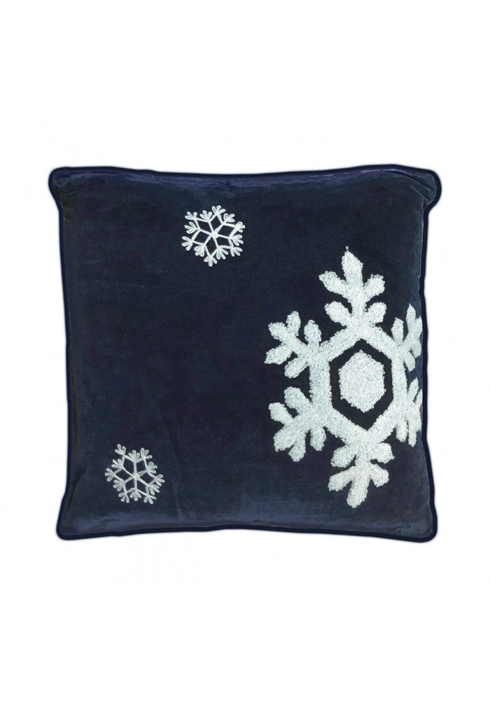 dancing snowflakes 18 inch navy blue decorative throw pillow cover winter holiday snow pattern
