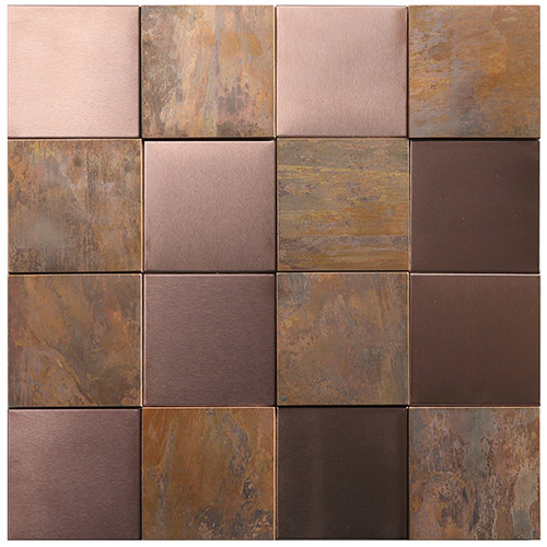 3d square antique copper coloured tiles for bathroom wall and kitchen backsplash cop11