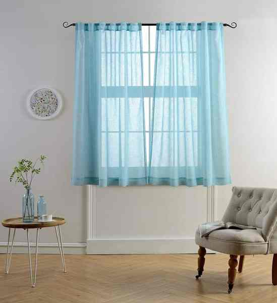 Tips   Ideas for Choosing Bathroom Window Curtains  WITH PHOTOS   Mysky Home Faux Linen Back Tab and Rod Pocket White Melange Window and Door  Sheer Curtains