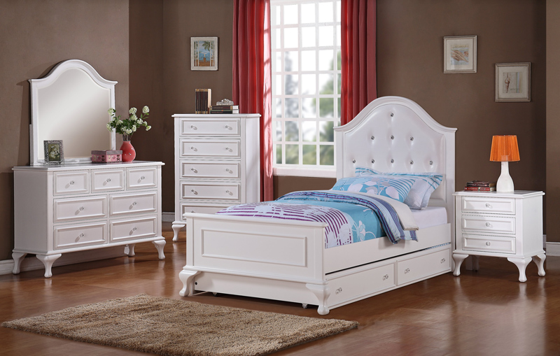 Jesse Trundle Bedroom Set White Finish Js700tb