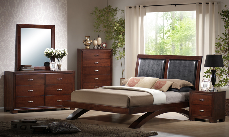 Raven Bedroom Set Faux Leather Amp Dark Cherry Finish