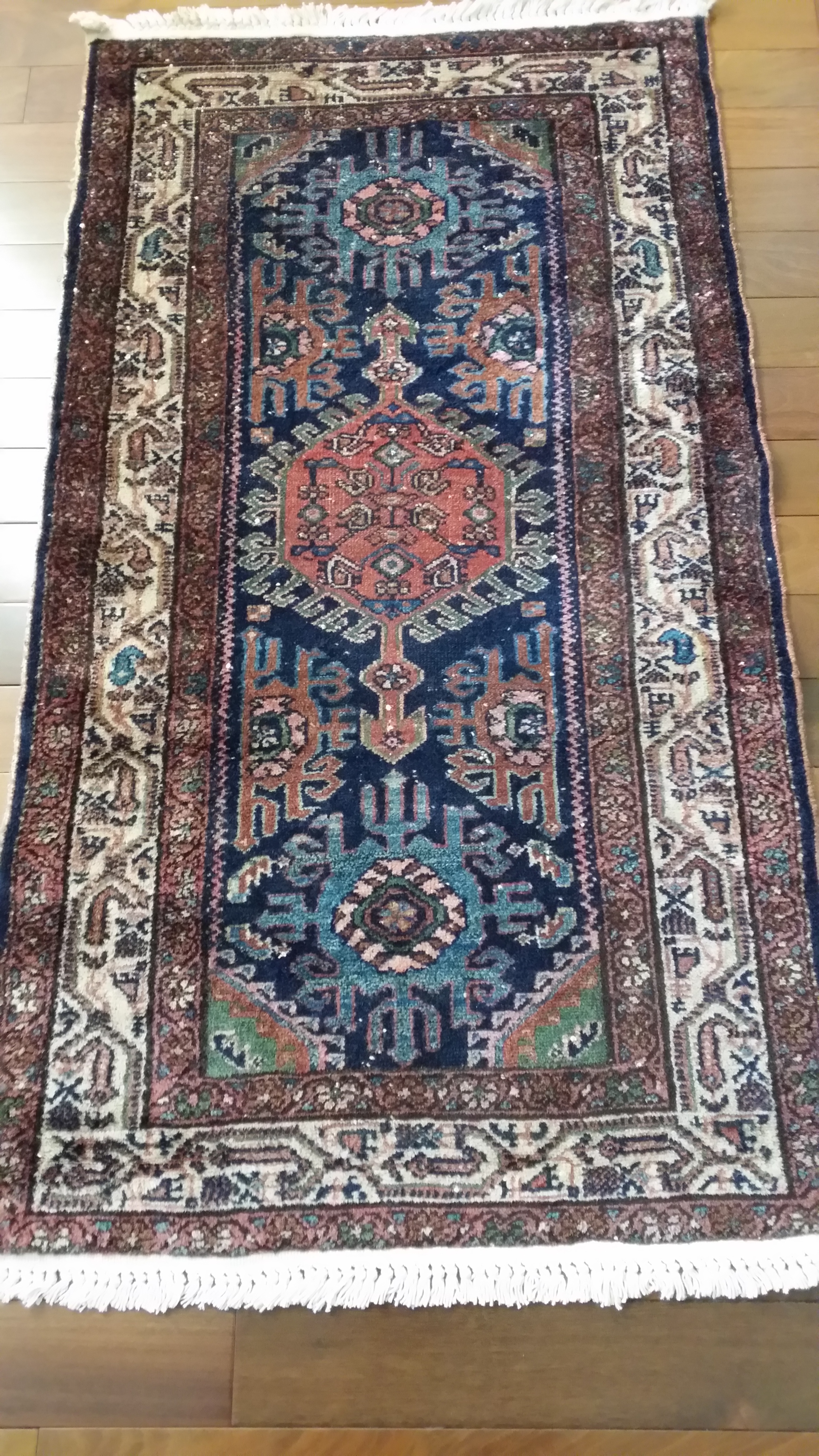Antique Persian Hamadan Harshang Design Rug 30 X 57