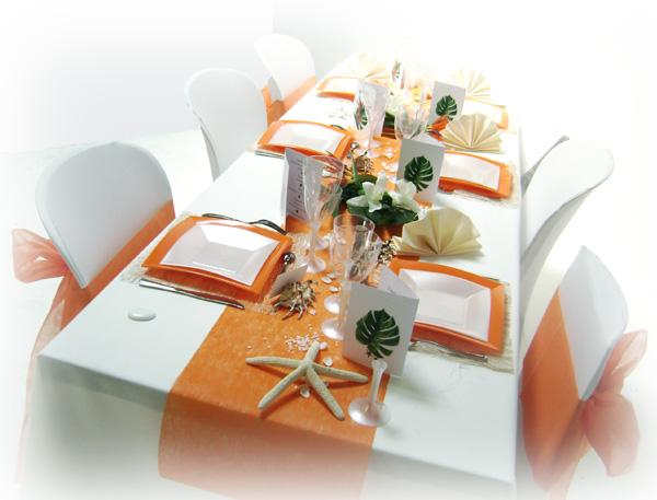 Dcoration Mariage Tropical En Orange Et Blanc