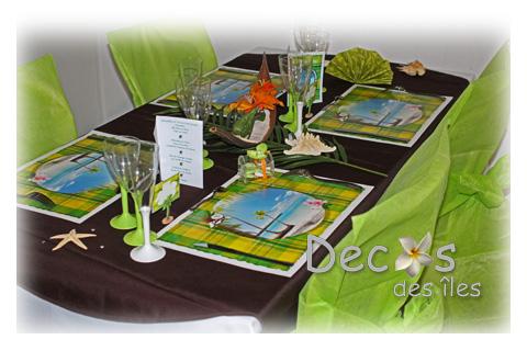 Dco De Table Marron Et Anis Madras Set De Table Anis