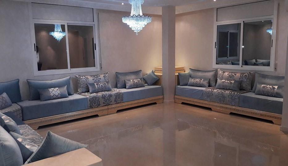 salon marocain gris et bleu