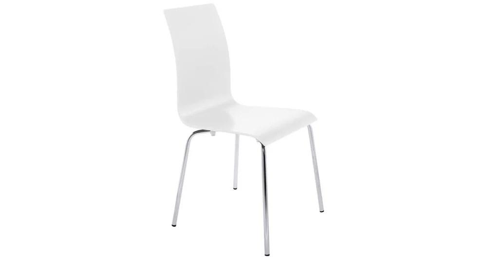 chaise de repas blanche et pieds chromes gabriel