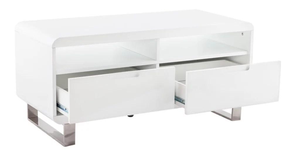 meuble tv en bois laque blanc ivanie