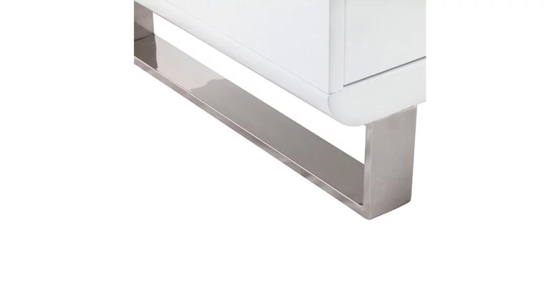 meuble tv design en bois laque blanc