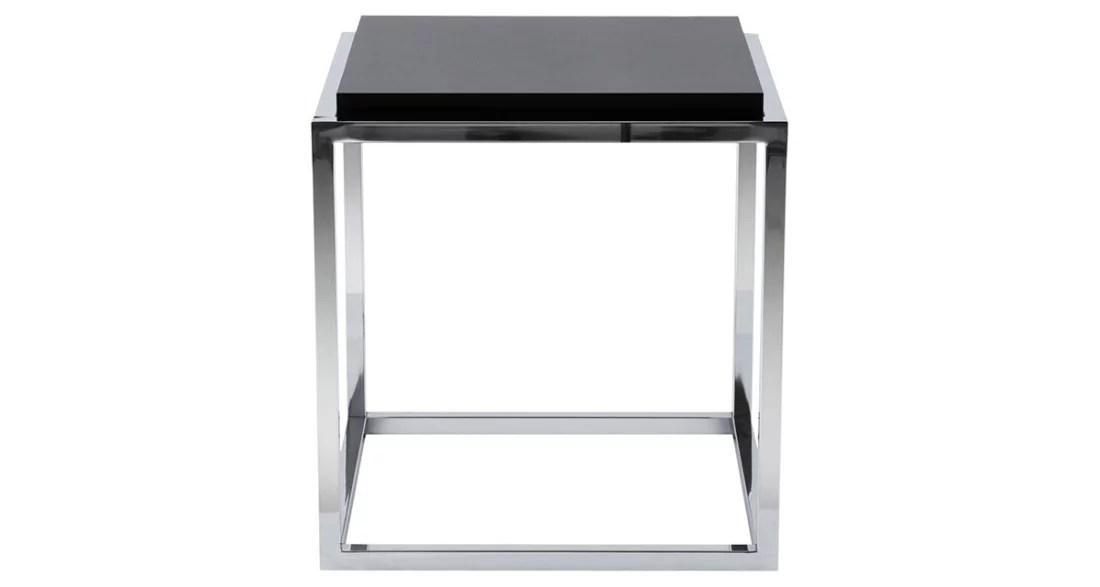 cube de rangement en acier chrome et