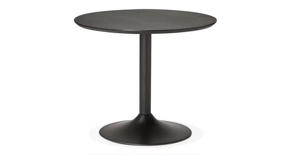 table ronde en bois noir diametre 90 cm laur