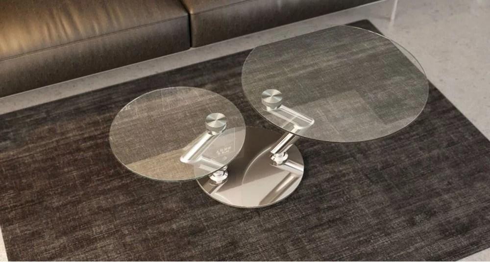 table basse a double plateau rond pivotant en verre olympia