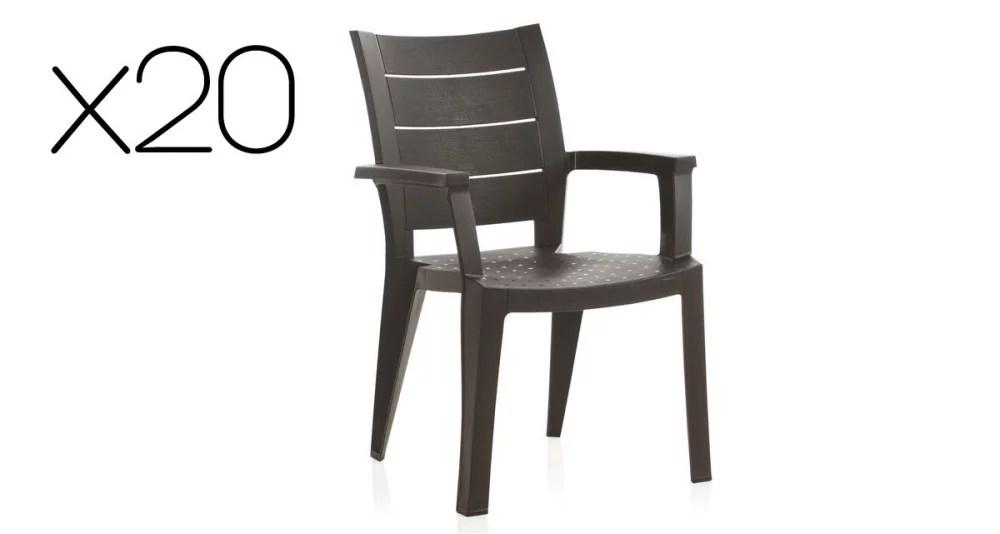 lot 20 chaises jardin style bois legno