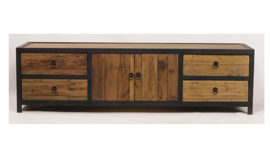 meuble tv 180 cm style industriel en