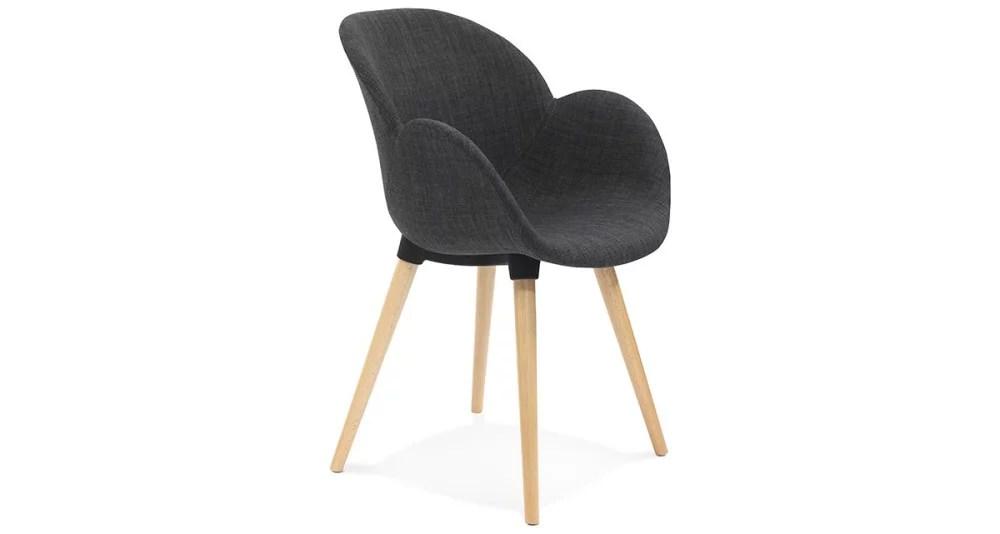 chaise gris fonce scandinave avec pieds bois hillsand