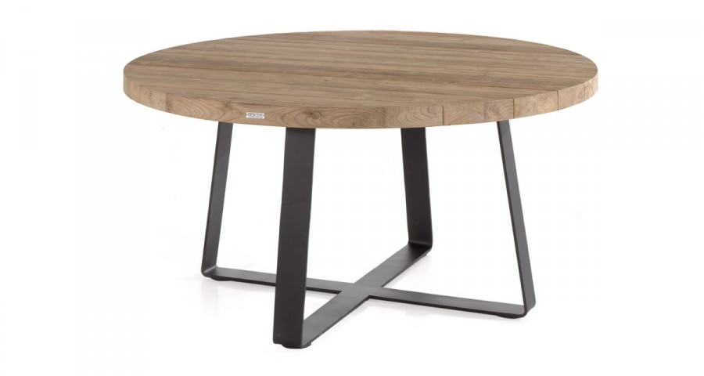 table ronde en teck recycle et metal marinara