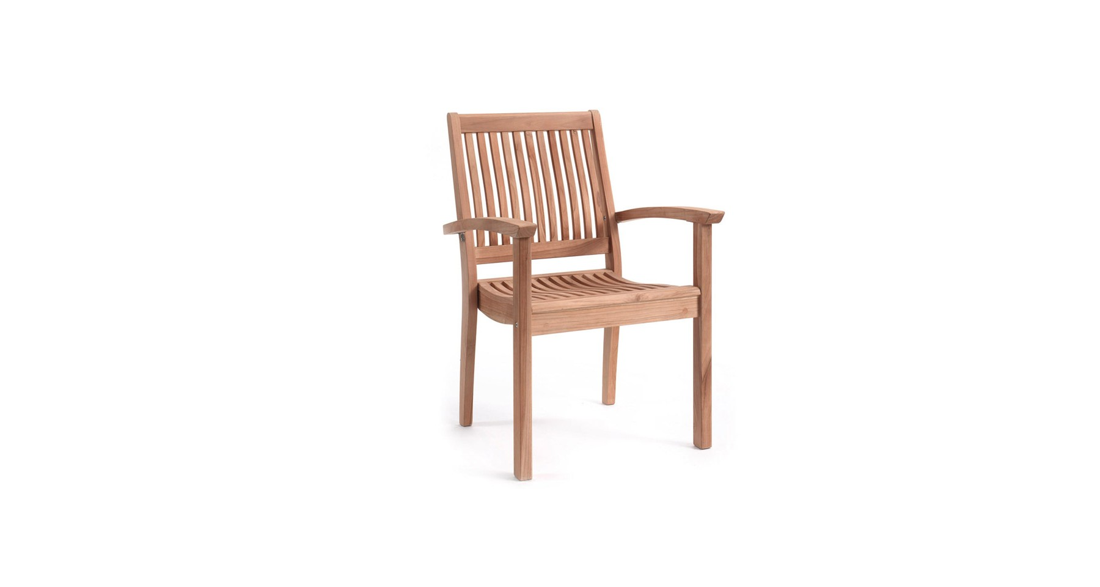 lot 2 fauteuils empilables en teck cargese